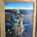 Bruce Braithwaite Original Oil Painting Jessie Casting for Mullet Cumberland Island GA