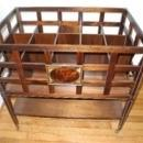 Solid Walnut Federal Style Hickory Chair Wine Rack & Magazine Cart Retail $1200