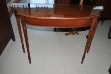 Estate Federal Sheraton Mahogany Bowfront Console Wall Table