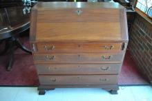 Period Antique Slant Desk Secretary, Early American, Mahogany, Circa 1760