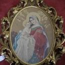 Madonna & Child, Virgin Mary Needlepoint Tapestry Carved Frame Ca 1810