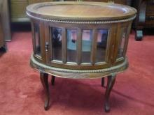 Hand Carved Solid Mahogany Oval Chocolate Table, Curio, Liquor Cabinet