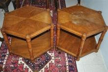 2- Walnut Retro Hexagon Shaped End Tables Side Tables Lamp Tables Nightstands by Heritage