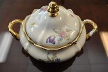Rosenthal Pompadour Round Covered Vegetable Bowl Cream Floral Gold Trim 8.5
