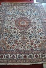 Monumental Hand Woven Estate Kashmar Persian Rug Beige 10ft x 13ft