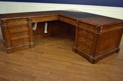 Leighton Hall Return Desk, L Shape, Mahogany Never Used! Retails $12000 LH-3075