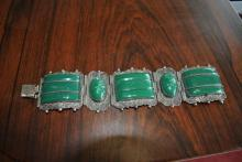 Antique Heirloom Sterling Jade Bracelet, Bold and Beautiful