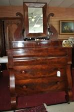 Antique American Empire Flaming Mahogany Chest, Dresser, Swivel Mirror Circa 1840