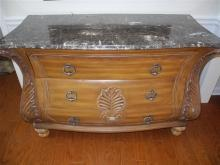 Estate French Style Bombe Chest, Black Marble Top, Finely Carved
