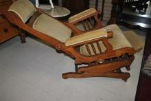 Antique Walnut Victorian Platform Rocker, Rocking Chair, Recliner, Adjustable Head & Foot Rests, Too Cool Ca 1880