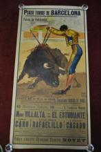 1942 Vintage Matador Bullfighting Poster Plaza de Toros de Barcelona, Spain, 42