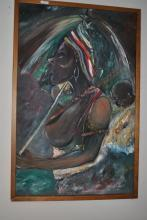 Original Oil by Zohan Okotete Cutural Artwork of Partly Nude Woman & Baby