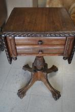 Antique American Empire Mahogany Drop Leaf, Sewing, Work Table, Paw Feet