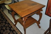 Antique Victorian Eastlake Style Square Oak Side, Lamp Table, Ca. 1880