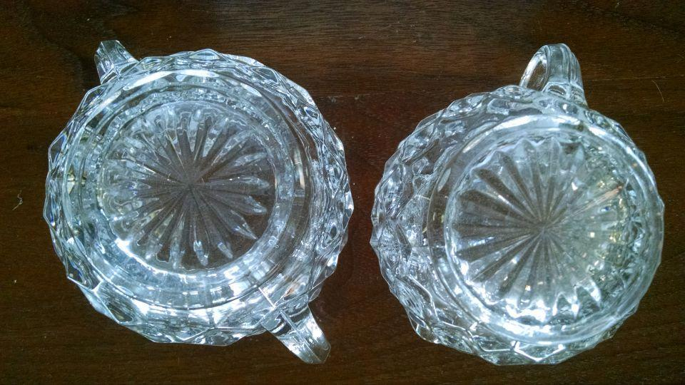Fostoria American Clear Pattern Mini Creamer & Open Sugar 2 5/8