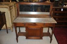 Antique English Walnut Wash Stand Side Board, Stone Top Ca.1880