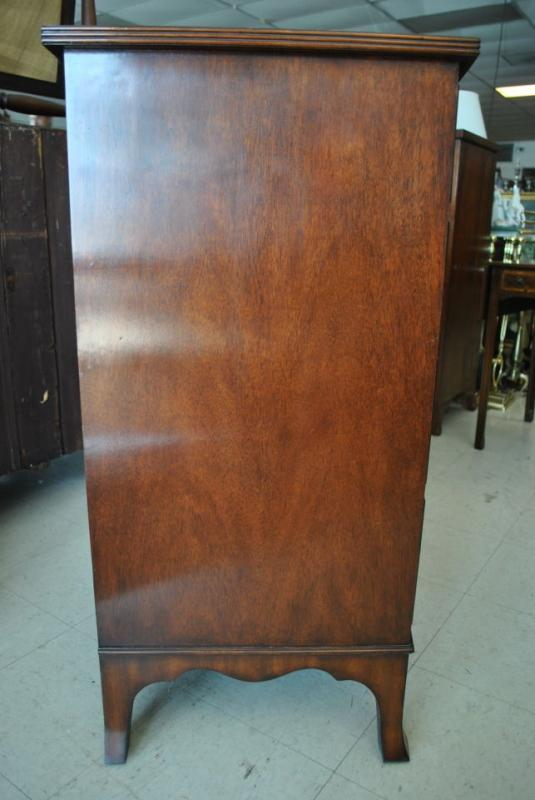 Never Used, Floor Sample Leighton Hall Flaming Mahogany Bow Front Chest of Drawers, Early American, Federal Style, Retail $4,000 LH-2040