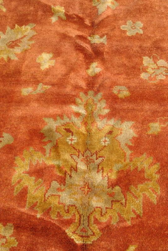 Palace Size Hand Woven Oushak Wool Rug, Terracotta, Gold 12' x 18'