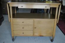 John Widdicomb Mid Century Drop Leaf Server Cart Sideboard Cabinet
