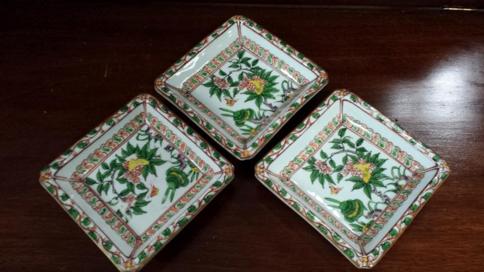 Antique Set of 3 Japanese Trinket Dishes