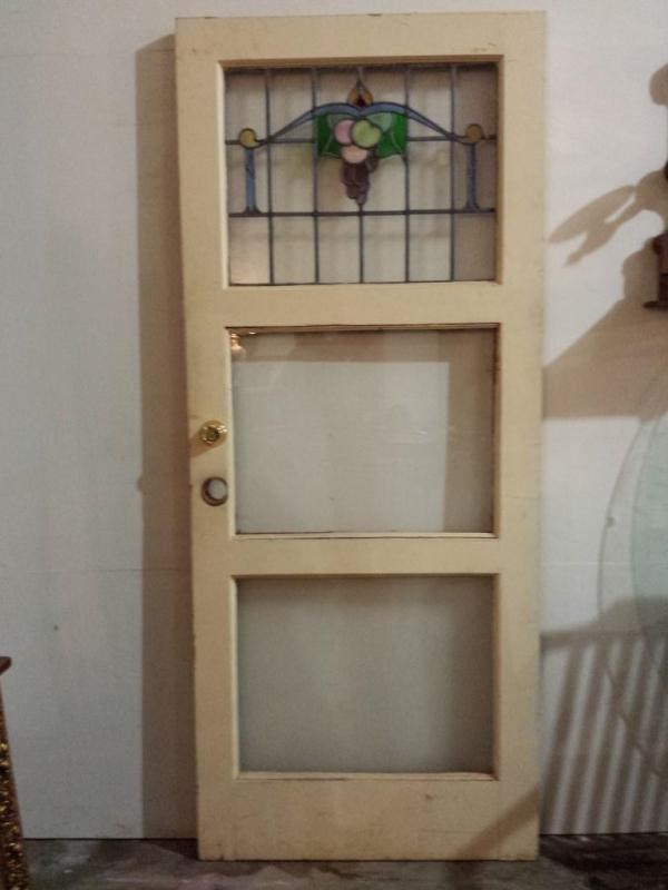 Antique Stained Glass Door, Pine