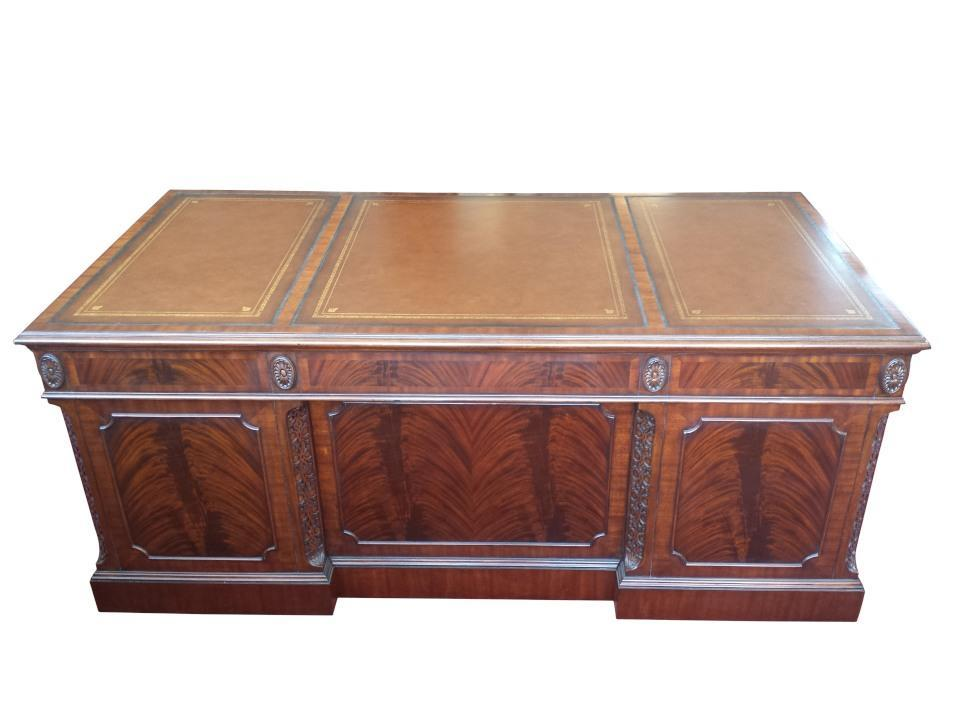 Floor Sample Leighton Hall CEO Executive Desk, Mahogany, Leather Inlay, 42