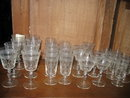 Cross and Olive Etched Glass Stemware Set, 28 Pc