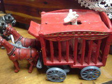 Cast Iron Toy; Horses pulling zoo cart