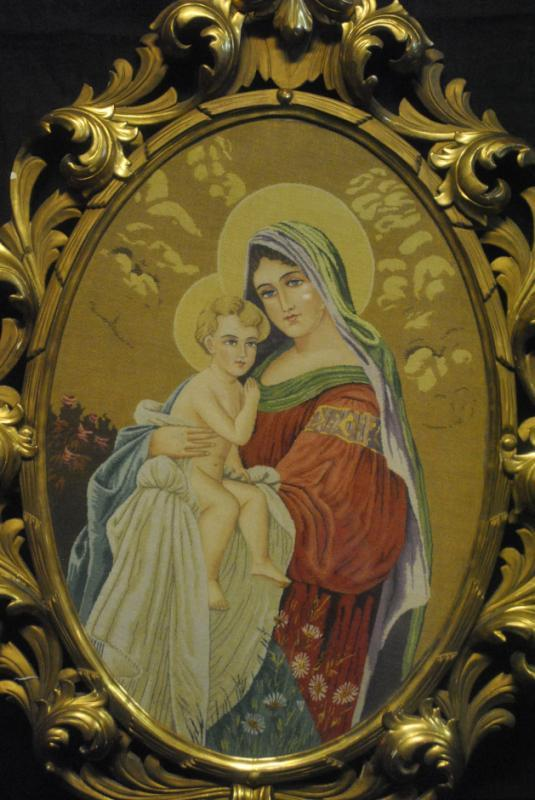 Antique Madonna & Child Needlepoint Tapestry, Framed Ca 1810