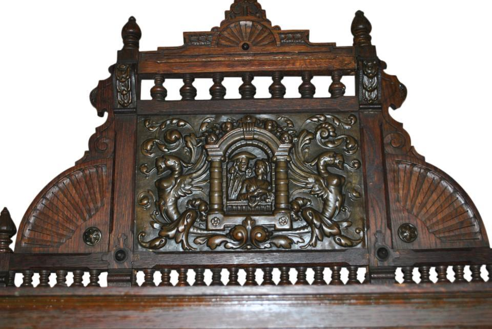 Antique French Tiger Oak Buffet Deaux Corps, Ca1890