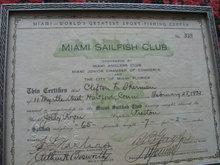 1932 Sailfish Certificate from Miami Sailfish Club, Fishing, Sailfish Memorabilia