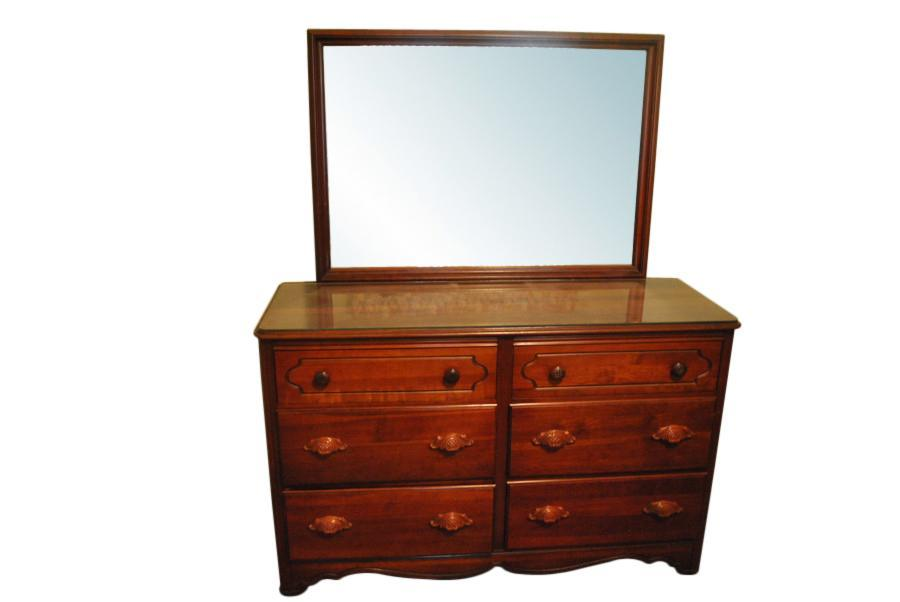 Super Nice 6 Drawer Solid Cherry Wood Dresser, Chest with Mirror 55″ Wide, PA4381