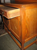 Antique English Panel Door Petite Oak Washstand Cabinet, Circa 1890