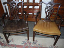 2-Chippendale Arm Chairs, Mahogany, Leather