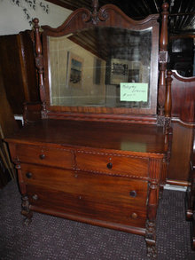 Hand Carved Dresser with Mirror, Solid Mahogany