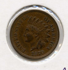 1870 US Indian Head Cent Chocolate Brown Uncirculated