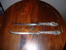 TWO Vintage 1890's silver handled fish fillet knives with steel blades