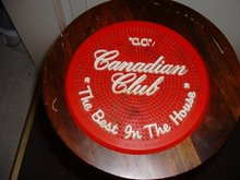 Vintage 1950's Canadian Club red  rubber bar mat