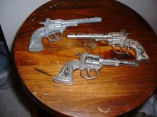 3 Vintage 1950's metal toy cap pistol  guns