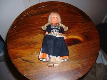1960's Dutch girl doll with blonde braided hair and wooden shoes