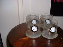 Vintage 1960's White Horse Scotch Whiskey glasses with the White Horse logo