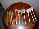14 Vintage different Swizzle Sticks