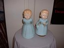 Vintage Japanese powder blue Angel girl music figurine with similar girl Angel without music box