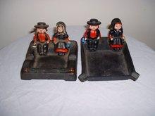 2 Vintage Amish Figural Amish Couple Ashtrays in Cast Iron