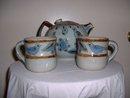 1960's Mexican El Palomar Bluebird Teapot & 2 teacups
