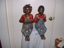 1950's Vintage Huge 18 inch Black Boy and Girl Ceramics