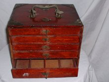 1930's vintage small hardwood tool box w 5 drawers & metal handles on top