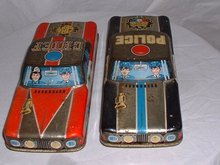 1960's vintage metal Police car and Police Chief cars very similar, same maker