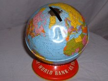 1960's vintage Ohio Art Co. metal world globe bank