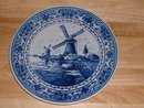 Vintage Delfts Dutch blue glazed handpainted decorative large porcelain plate w windmills and dyke wall mountable